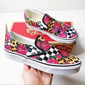Vans Rose Animal Check Classic Slip On Sneakers